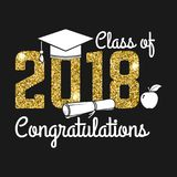 Vector Class of 2018 badge. Concept for shirt, print, seal, overlay or stamp, greeting, invitation card. Design with graduation cap, diploma, apple and text Royalty Free Stock Photo