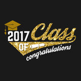 Vector Class of 2017 badge. Concept for shirt, print, seal, overlay or stamp, greeting, invitation card. Design with graduation cap, diploma and text Class of Royalty Free Stock Photos