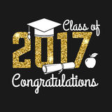 Vector Class of 2017 badge. Concept for shirt, print, seal, overlay or stamp, greeting, invitation card. Design with graduation cap, diploma, apple and text Royalty Free Stock Image
