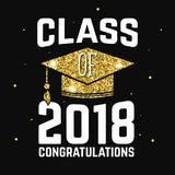 Vector Class of 2018 badge. Concept for shirt, print, seal, overlay or stamp, greeting, invitation card. Design with graduation cap, and text Class of Royalty Free Stock Photography