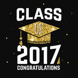 Vector Class of 2017 badge. Concept for shirt, print, seal, overlay or stamp, greeting, invitation card. Design with graduation cap, and text Class of Royalty Free Stock Photo