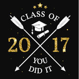 Vector Class of 2017 badge. Concept for shirt, print, seal, overlay or stamp, greeting, invitation card. Design with graduation cap, and text Class of Royalty Free Stock Images