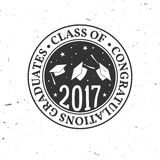 Vector Class of 2017 badge. Concept for shirt, print, seal, overlay or stamp, greeting, invitation card. Typography design- stock vector. Graduation design Royalty Free Stock Photos