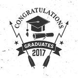 Vector Class of 2017 badge. Concept for shirt, print, seal, overlay or stamp, greeting, invitation card. Typography design- stock vector. Graduation design Stock Images