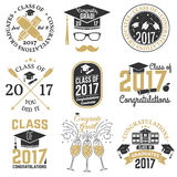 Vector Class of 2017 badge. Set of Class of 2017 badges. Concept for shirt, print, seal, overlay or stamp, greeting, invitation card. Vector illustration Royalty Free Stock Photo