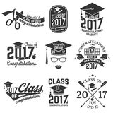 Vector Class of 2017 badge. Set of Vector Class of 2017 badges. Concept for shirt, print, seal, overlay or stamp, greeting, invitation card. Typography design Royalty Free Stock Photo