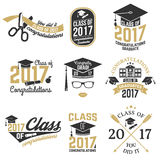 Vector Class of 2017 badge. Set of Vector Class of 2017 badges. Concept for shirt, print, seal, overlay or stamp, greeting, invitation card. Typography design Royalty Free Stock Photography