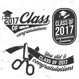 Vector Class of 2017 badge. Set of Vector Class of 2017 badges. Concept for shirt, print, seal, overlay or stamp, greeting, invitation card. Typography design Stock Photo
