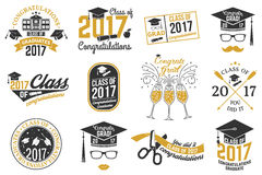 Vector Class of 2017 badge. Set of Vector Class of 2017 badges. Concept for shirt, print, seal, overlay or stamp, greeting, invitation card. Typography design Royalty Free Stock Image