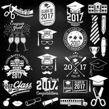 Vector Class of 2017 badge. Set of Vector Class of 2017 badges and design elements on the chalkboard. Concept for shirt, print, seal, overlay or stamp, greeting Royalty Free Stock Image