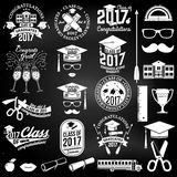 Vector Class of 2017 badge. Set of Vector Class of 2017 badges and design elements on the chalkboard. Concept for shirt, print, seal, overlay or stamp, greeting Royalty Free Stock Photos