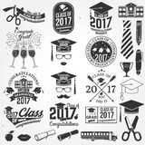 Vector Class of 2017 badge. Set of Vector Class of 2017 badges and design elements. . Concept for shirt, print, seal, overlay or stamp, greeting, invitation Stock Photo