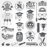 Vector Class of 2017 badge. Set of Class of 2017 badges and design elements. Vector illustration Stock Photography