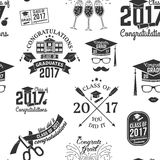 Vector Class of 2017 badge. Set of Vector Class of 2017 badges seamless pattern with grunge effect. Typography design- stock vector royalty free illustration