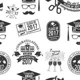 Vector Class of 2017 badge. Set of Vector Class of 2017 badges seamless pattern with grunge effect. Typography design- stock vector stock illustration
