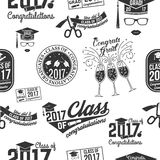 Vector Class of 2017 badge. Set of Vector Class of 2017 badges seamless pattern with grunge effect. Typography design- stock vector vector illustration
