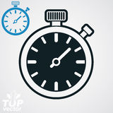 Vector classic black and white stopwatch, additional version inc Stock Image