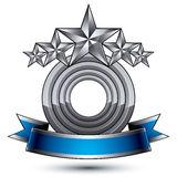 Vector classic emblem isolated on white background. Aristocratic. Badge with five silver stars and blue and gray ribbon clear EPS 8 Stock Image