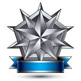 Vector classic emblem isolated on white background. Aristocratic. Badge with silver star placed on a shield. Blue and gray ribbon clear EPS 8 Stock Image