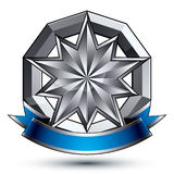 Vector classic emblem  on white background. Aristocratic. Badge with silver star and blue and gray ribbon clear EPS 8 Royalty Free Stock Photo