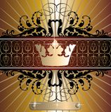 Vector classic gold-black banner with crown Royalty Free Stock Images