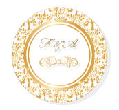 Vector Classic Golden Round Lace damask ornamented Invitation card Stock Photo