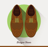 Flat Brogue Shoes icon. Male businessman accessories. Stock Photo