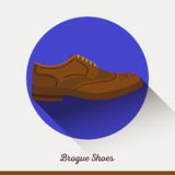 Brogue Shoes in flat style. Businessman stylish accessories. Stock Photos
