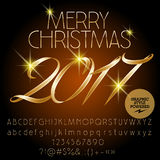 Vector classic Merry Christmas 2017 greeting card Stock Photography