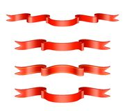 Classic Red Ribbon Set Stock Photo