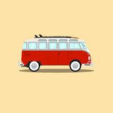 Vector classic retro bus with surfboard. Stock Photo