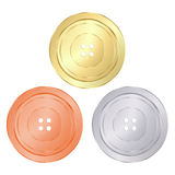 Vector classic round sewing buttons of gold, silver, bronze Stock Image