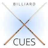 Vector classic wood billiard and pool cues for sports and recreation. Royalty Free Stock Images