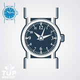 Vector classic wristwatch illustration, elegant detailed quartz Royalty Free Stock Images