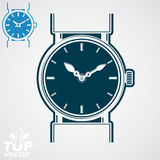 Vector classic wristwatch illustration, elegant detailed quartz Royalty Free Stock Photos