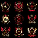 Vector classy heraldic Coat of Arms. Collection of blazons styli Stock Photo