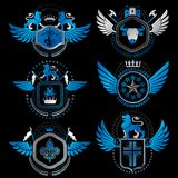 Vector classy heraldic Coat of Arms. Collection of blazons styli Royalty Free Stock Photo