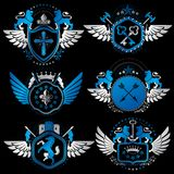 Vector classy heraldic Coat of Arms. Collection of blazons styli Royalty Free Stock Images