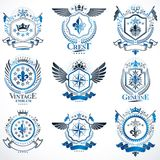 Vector classy heraldic Coat of Arms. Collection of blazons styli. Zed in vintage design and created with graphic elements, royal crowns and flags, stars, towers Stock Photo