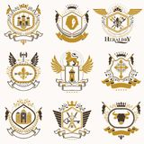 Vector classy heraldic Coat of Arms. Collection of blazons styli. Zed in vintage design and created with graphic elements, royal crowns and flags, stars, towers Stock Photos