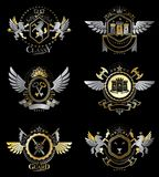 Vector classy heraldic Coat of Arms. Collection of blazons styli. Zed in vintage design and created with graphic elements, royal crowns and flags, stars, towers Stock Images