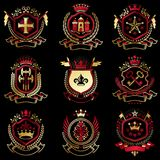 Vector classy heraldic Coat of Arms. Collection of blazons styli. Zed in vintage design and created with graphic elements, royal crowns and flags, stars, towers Royalty Free Stock Photography