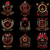 Vector classy heraldic Coat of Arms. Collection of blazons styli. Zed in vintage design and created with graphic elements, royal crowns and flags, stars, towers Royalty Free Stock Image