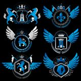 Vector classy heraldic Coat of Arms. Collection of blazons styli. Zed in vintage design and created with graphic elements, royal crowns and flags, stars, towers Royalty Free Illustration