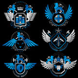 Vector classy heraldic Coat of Arms. Collection of blazons styli Stock Photography