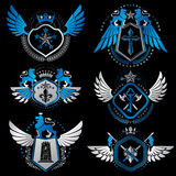 Vector classy heraldic Coat of Arms. Collection of blazons styli Stock Photos