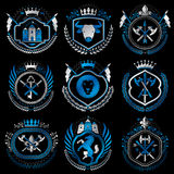 Vector classy heraldic Coat of Arms. Collection of blazons styli. Zed in vintage design and created with graphic elements, royal crowns and flags, stars, towers Royalty Free Stock Photo