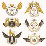 Vector classy heraldic Coat of Arms. Collection of blazons styli Stock Images