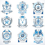 Vector classy heraldic Coat of Arms. Collection of blazons styli. Zed in vintage design and created with graphic elements, royal crowns and flags, stars, towers Stock Illustration