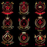 Vector classy heraldic Coat of Arms. Collection of blazons styli. Zed in vintage design and created with graphic elements, royal crowns and flags, stars, towers Stock Image